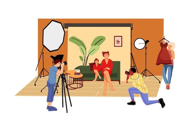 Illustrazione di studio fotografico piatto