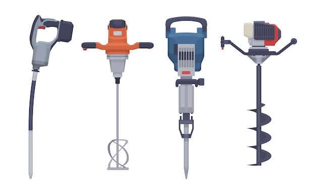 Set di utensili elettrici piatti. vibratore isolato, mixer, martello pneumatico, trapano. illustrazione. collezione