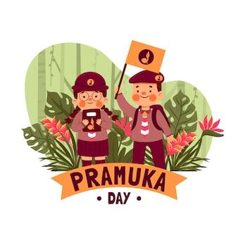 Illustrazione piatta del giorno di pramuka