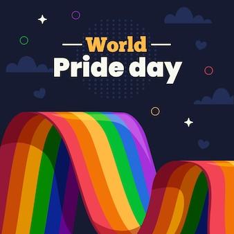 Illustrazione della bandiera del giorno dell'orgoglio piatto