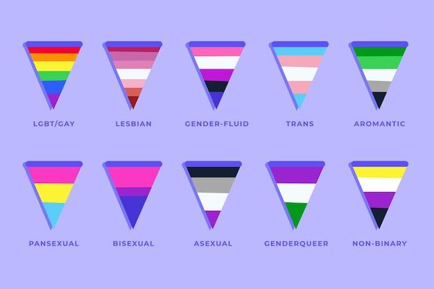 Collezione di bandiere dell'orgoglio piatto
