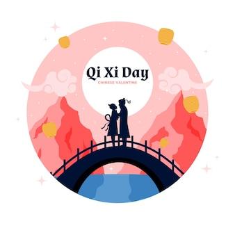 Piatto qi xi giorno illustrazione