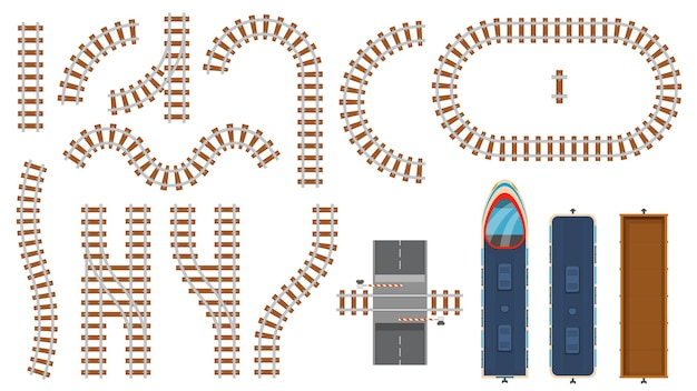 Vista dall'alto di elementi ferroviari e ferroviari piatti. costruzione della mappa del binario del treno, barriera, strade ferroviarie curve, locomotiva e set di vettori di vagoni merci