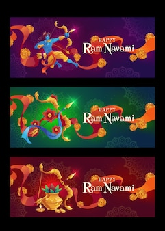 Banner orizzontale piatto ram navami