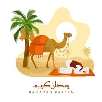 Illustrazione di concetto di ramadan piatto