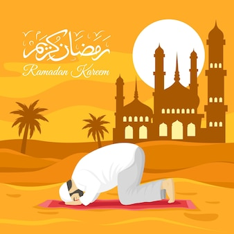 Illustrazione di ramadan piatto con persona che prega