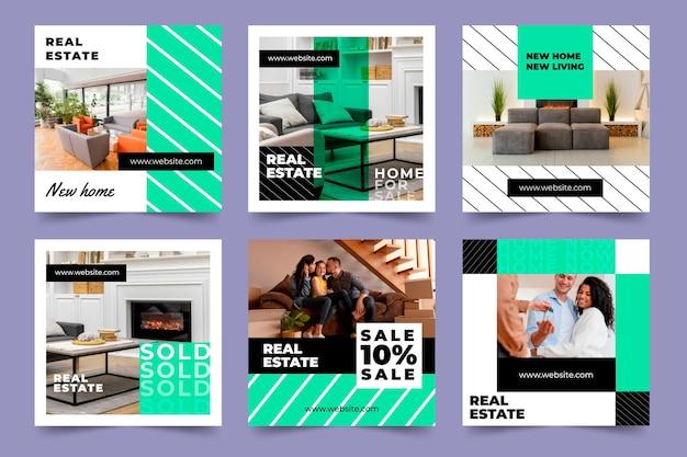Raccolta di post instagram immobiliare piatta