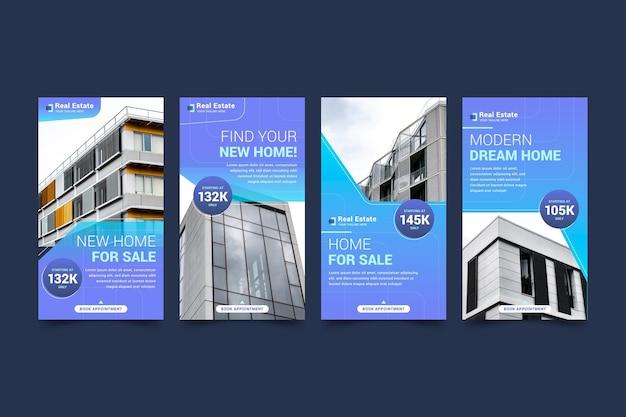 Raccolta di storie di instagram immobiliari piatte
