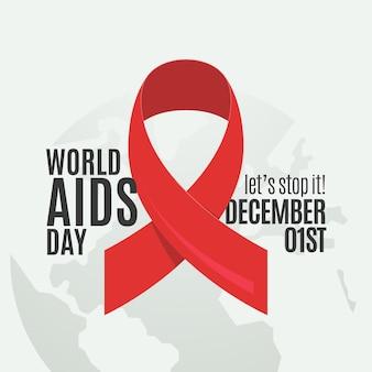 Simbolo del nastro rosso piatto per il giorno dell'aids