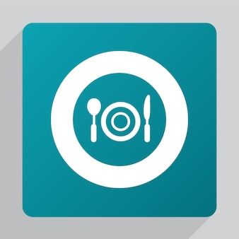 Icona del ristorante piatto, bianco su sfondo verde