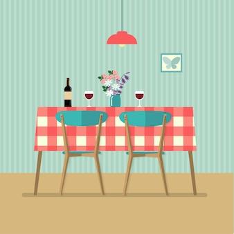 Tavolo retrò piatto con vino rosso e due bicchieri. illustrazione vettoriale