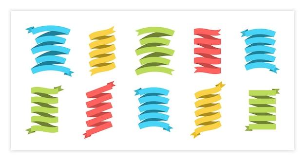 Illustrazione stabilita di vettore dell'insegna del nastro piatto grande raccolta di nastro di colore di forme diverse e