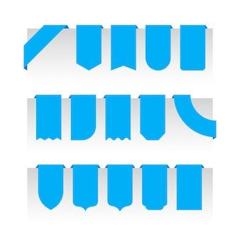Piano piano delle insegne dei nastri isolato su bianco, insieme dell'illustrazione del nastro blu. vettore