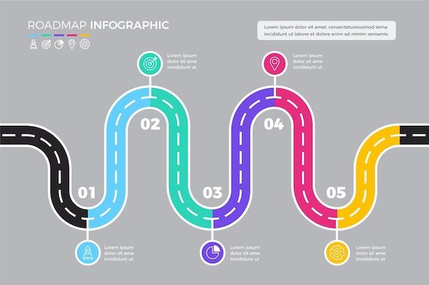 Modello di infografica roadmap piatta