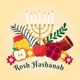 Concetto di rosh hashanah piatto Vettore Premium