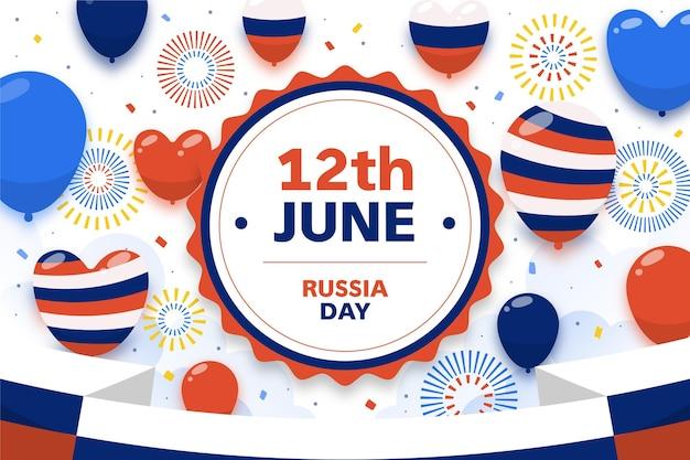 Sfondo di giorno piatto russia con palloncini