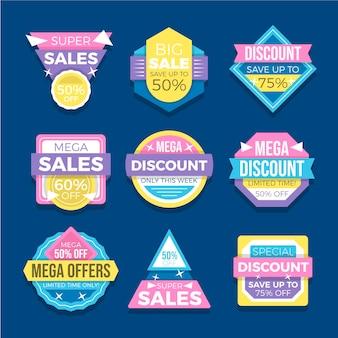 Collezione di distintivi di vendita piatta
