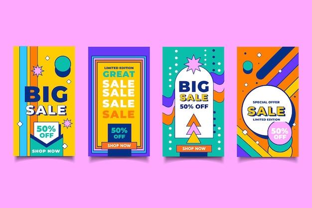 Set di storie di instagram in vendita piatta