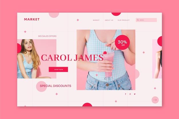 Modello di pagina di destinazione di vendita piatta con foto