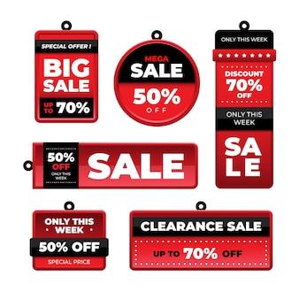 Collezione di tag vendita piatta