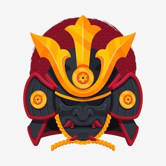Illustrazione di maschera samurai piatta
