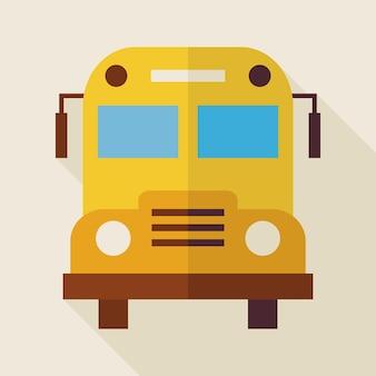 Illustrazione piana dello scuolabus con ombra lunga. torna a scuola e istruzione illustrazione vettoriale. oggetto di trasporto colorato stile piano
