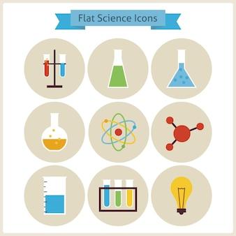 Set di icone piane di chimica e scienza della scuola. illustrazioni vettoriali in stile piatto. di nuovo a scuola. set di scienza e istruzione. collezione di icone di chimica biologia e ricerca cerchio