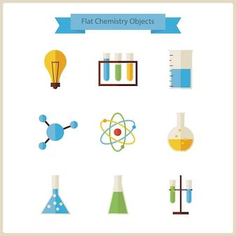 Set di oggetti di chimica e scienza della scuola piatta. illustrazioni vettoriali in stile piatto. di nuovo a scuola. set di scienza e istruzione. raccolta di chimica biologia e oggetti di ricerca isolati su bianco.