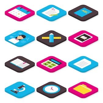 Set di icone isometriche di istruzione scolastica e apprendimento piatto. illustrazione vettoriale di set di icone isometriche