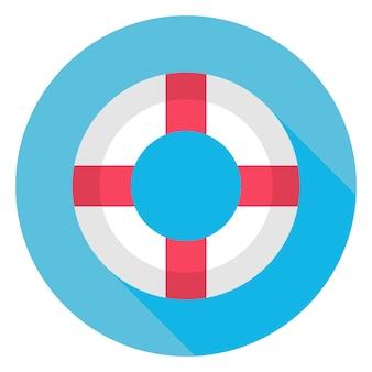 Icona del cerchio di salvagente di mare piatto con ombra lunga. illustrazione vettoriale piatto stilizzato