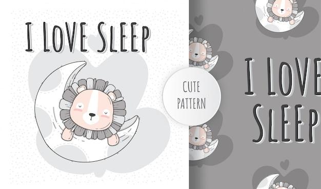 Leone animale sveglio piano senza cuciture che dorme sulla luna
