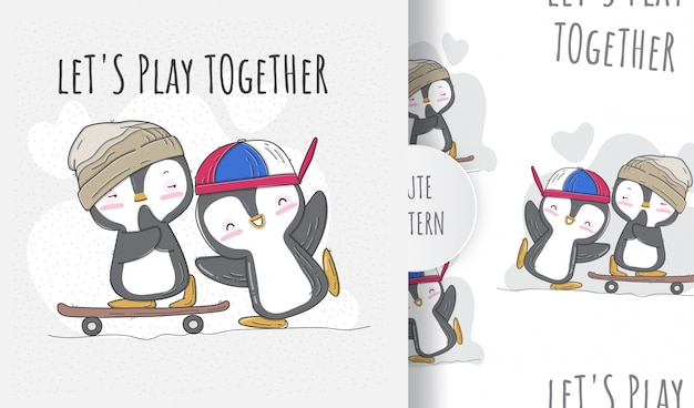 Pinguini carino piatto senza cuciture giocando skateboard