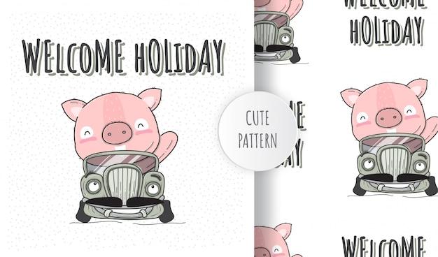 Animale sveglio del maiale del modello senza cuciture piano sull'automobile