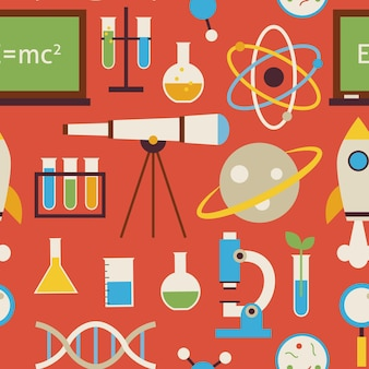 Reticolo senza giunte piatto scienza e istruzione oggetti su rosso. fondo senza cuciture di struttura di vettore di stile piano. raccolta di modelli di ricerca e astronomia di chimica biologia fisica. di nuovo a scuola.