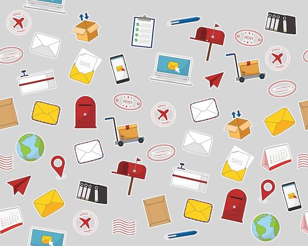 Modello di trama piatta senza cuciture ufficio postale