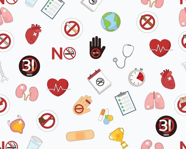 Modello di trama piatta senza cuciture giornata mondiale senza tabacco