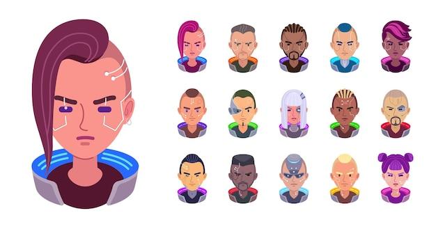 Set piatto degli avatar cyberpunk di ragazze e uomini con diversi impianti cyber facciali