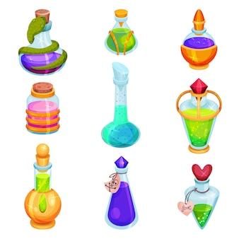 Set piatto di diverse piccole bottiglie con pozioni. fiale di vetro con liquidi colorati. elisir magici. icone del gioco