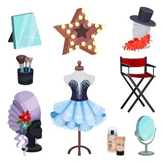 Set piatto di icone di spogliatoio. abito su manichino, specchi da tavola, elementi di costumi, trucco cosmetico