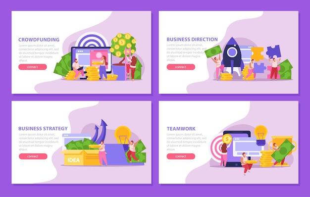 Set piatto di quattro banner di crowdfunding con persone che raccolgono e investono denaro per progetti isolati