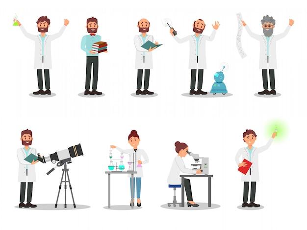 Set piatto di persone scienziati. uomini e donne in camice bianco. professionisti che lavorano nei laboratori.