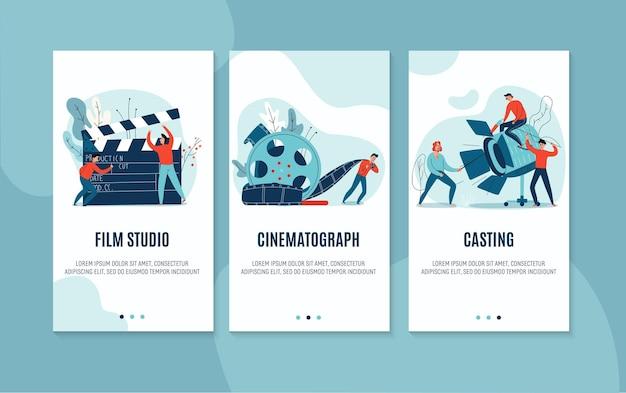 Set piatto di tre striscioni cinematografici verticali con casting di studio cinematografico e attore isolato