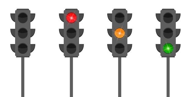 Set piatto di semafori con luci colorate accese