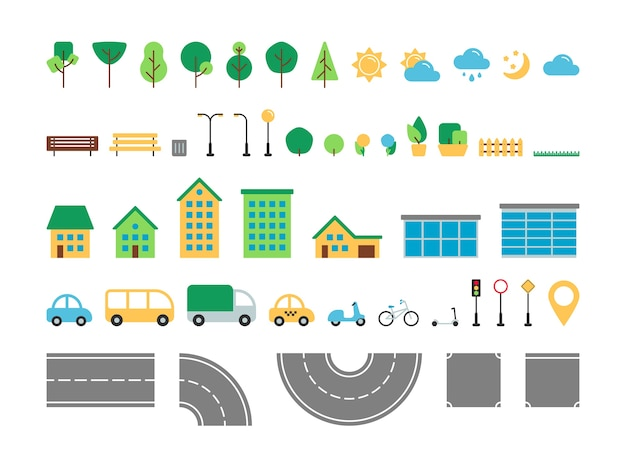 Insieme di vettore di elementi urbani piatto semplice città. collezione di costruttori di arredi per esterni per parchi e strade. albero, meteo, strada, casa, trasporti, segnale stradale isolato per icone web, app mobile, infografiche.