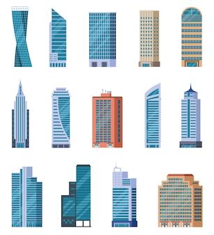 Set di grattacieli piatti