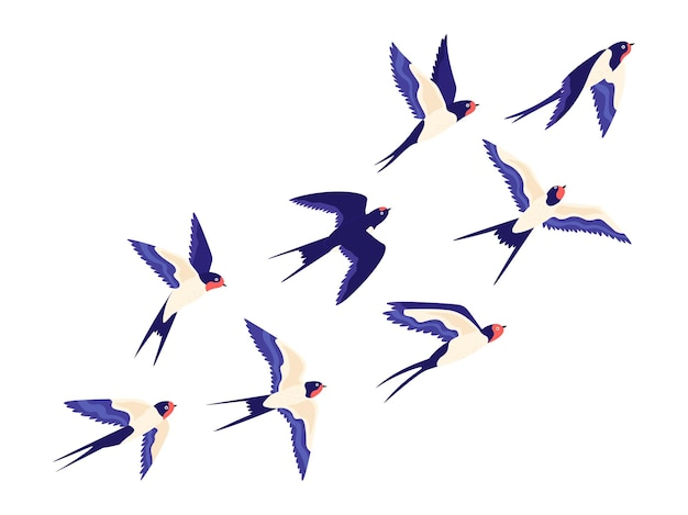 Piccolo stormo di uccelli rondine piatto che vola in aria. il gruppo del fumetto di granaio ingoia il volo di libertà in cielo illustrazione vettoriale pacifica con uccelli