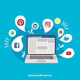 Sfondo piatto social media con computer