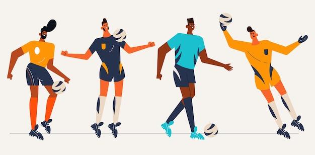 Collezione di giocatori di football sudamericano piatto