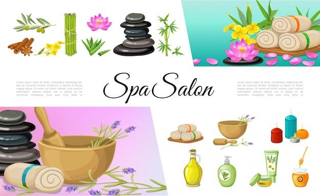 Collezione di elementi del salone spa piatta con bastoncini di cannella pietre di olio d'oliva asciugamani di bambù di fiori di loto candele aroma di aloe vera miele