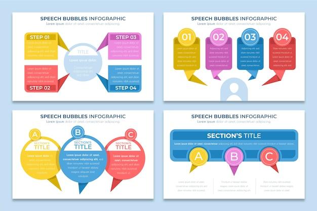 Infographics di bolle di discorso piatto